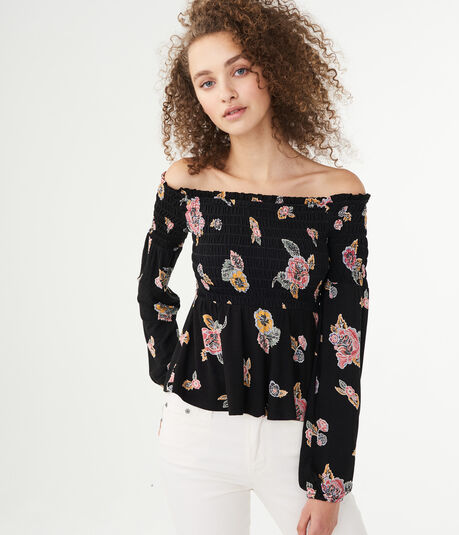 Long Sleeve Floral Smocked Off-The-Shoulder Top
