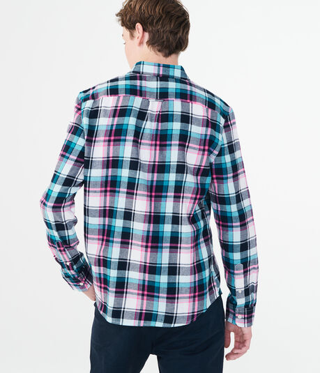 Long Sleeve Multi-Plaid Twill Woven Shirt