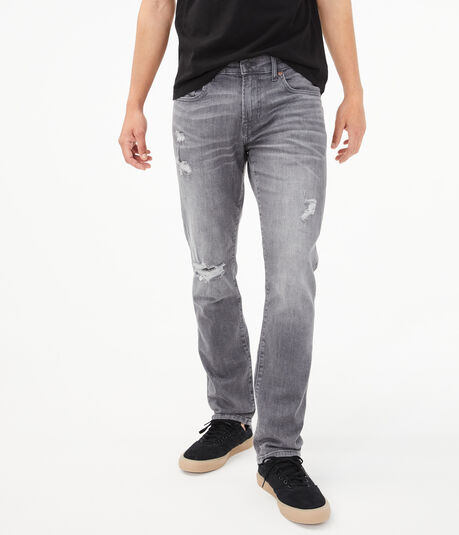 Slim Grey Wash Destroyed Stretch Jean***