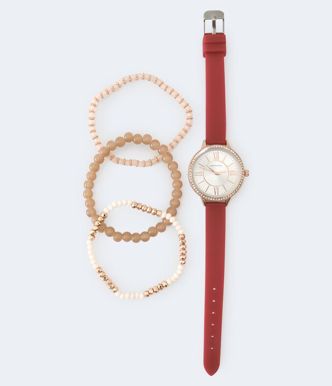 Rhinestone Rubber Analog Watch & Bracelet Set
