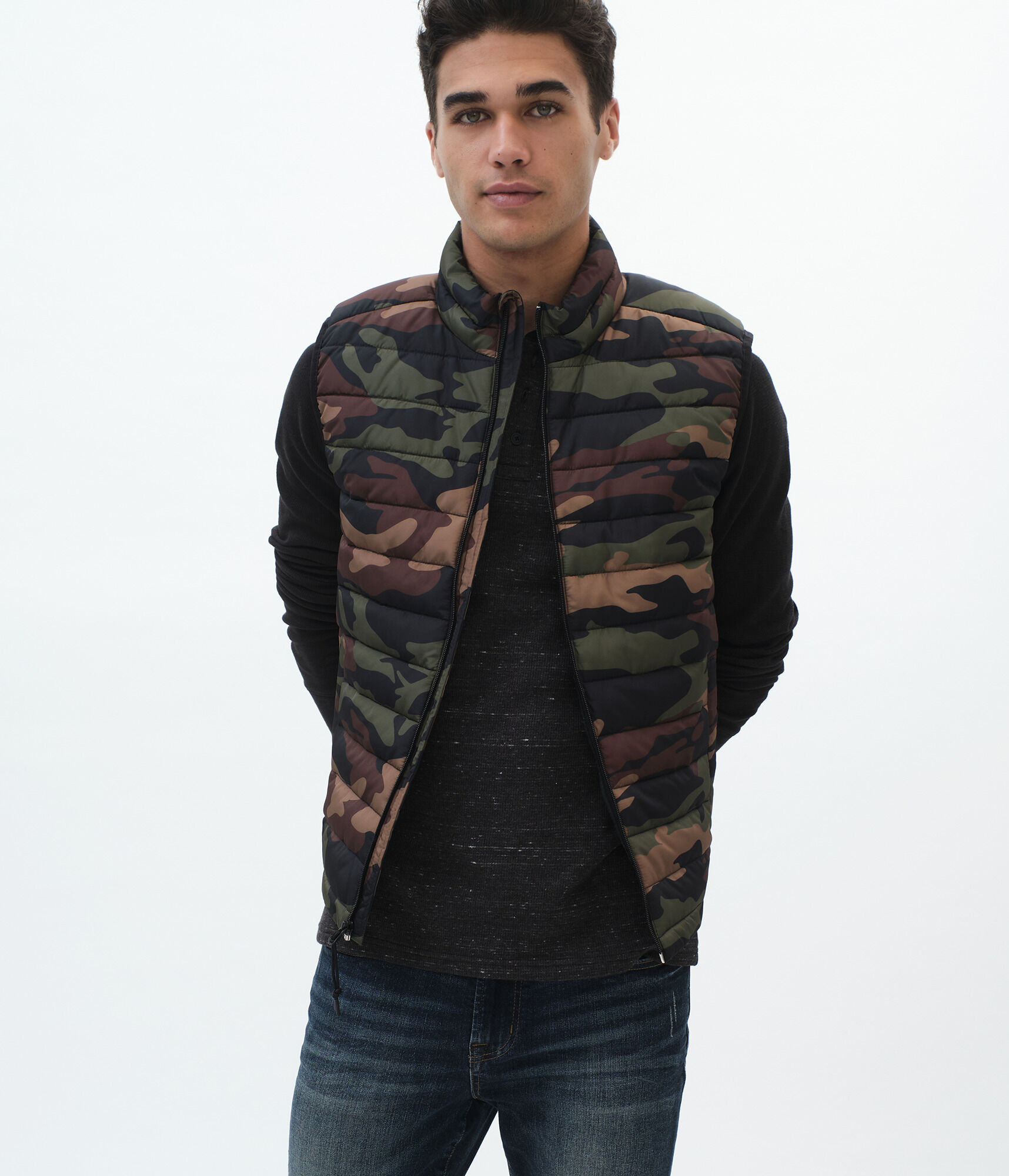 Camo Quilted Puffer Vest