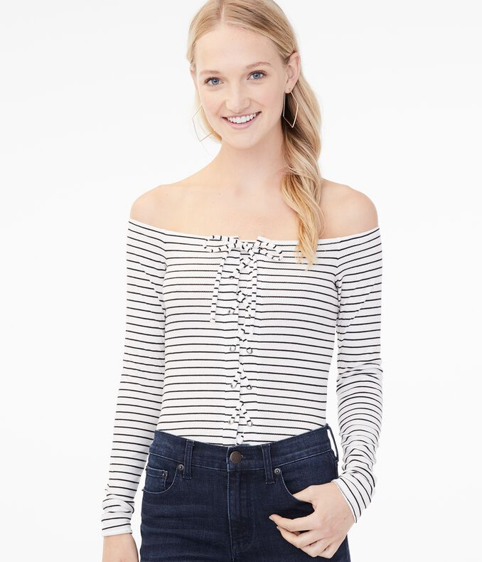 Long Sleeve Striped Lace-Up Off-The-Shoulder Top