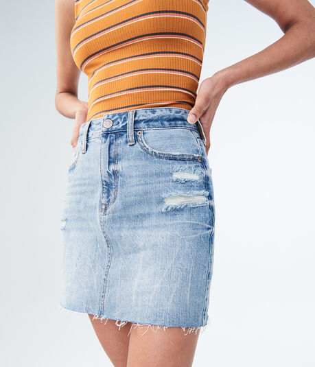High-Waisted Light Wash Denim Mini Skirt