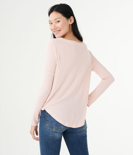Long Sleeve Seriously Soft Waffle-Knit Boatneck Top