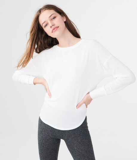 LLD Long Sleeve Drapey Ribbed Knit Top