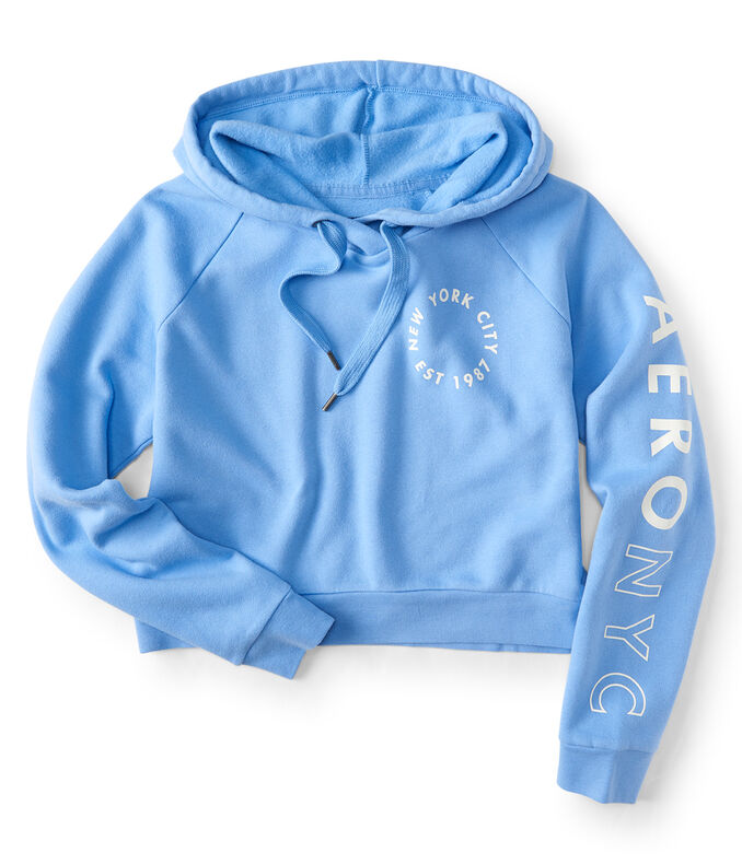 New York City Circle Logo Crop Pullover Hoodie