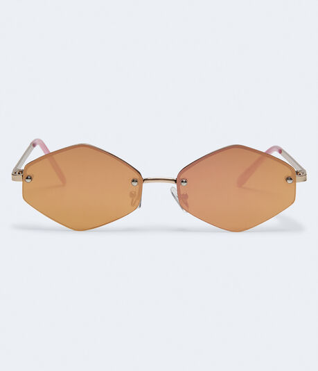 Flat Mirrored Geometric Sunglasses***