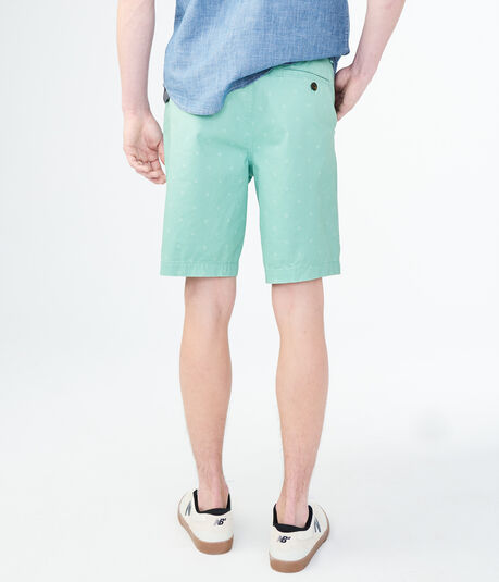 Geometric Stretch Flat-Front Chino Shorts