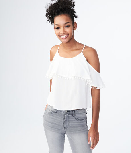 Solid Pompom Cold-Shoulder Top