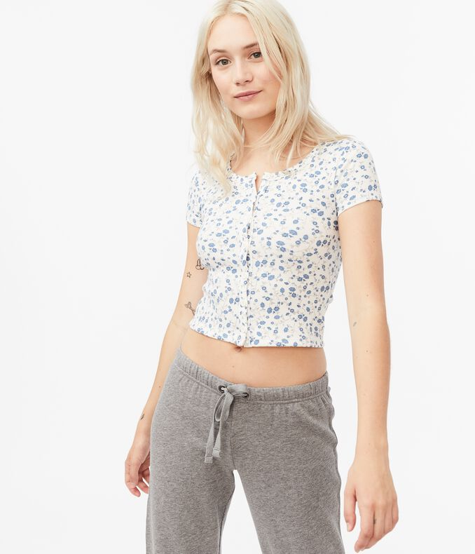 Floral Button-Front Ribbed Shrunken Tee