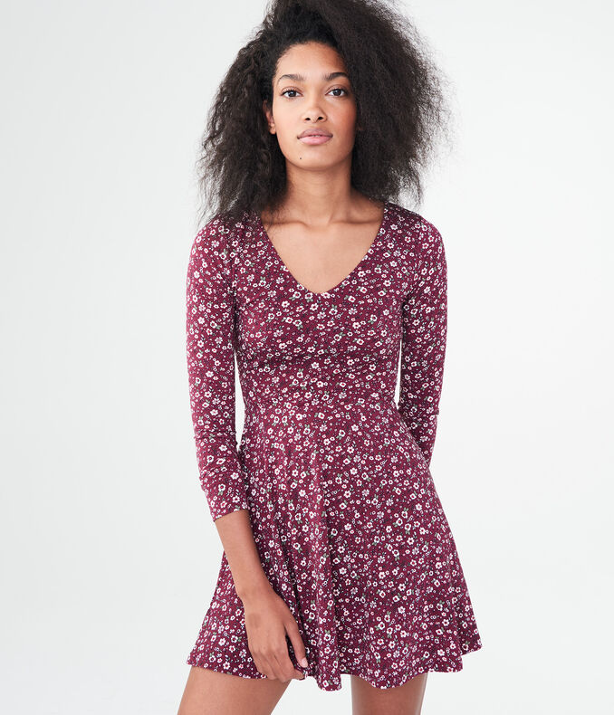 Floral V-Neck Lace-Up-Back Fit & Flare Dress