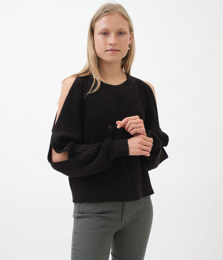 Open Sleeve Cold-Shoulder Sweater***