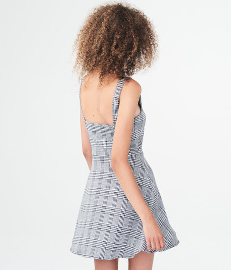 Houndstooth Notch-Neck Fit & Flare Dress