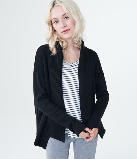 Solid Shawl-Collar Cardigan