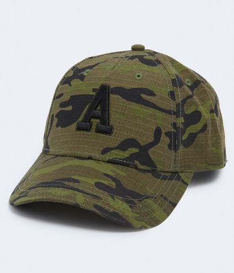 "Embroidered ""A"" Camo Adjustable Hat"