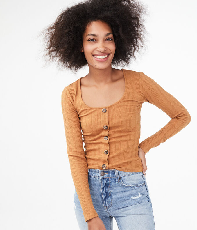 Long Sleeve Seriously Soft Button-Front Top