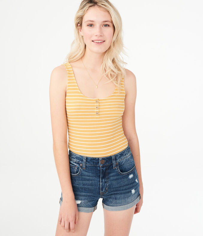 Seriously Soft Striped Henley Bodycon Tank*** by Aeropostale