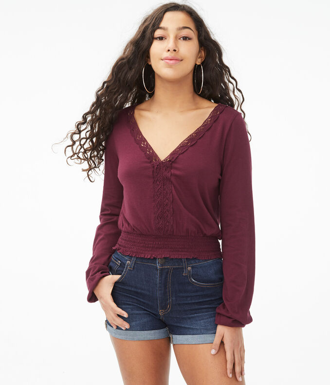 Long Sleeve Seriously Soft Lace V-Neck Peasant Top
