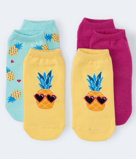 3-Pack Cool Pineapple, Pineapple Hearts & Solid Ankle Socks