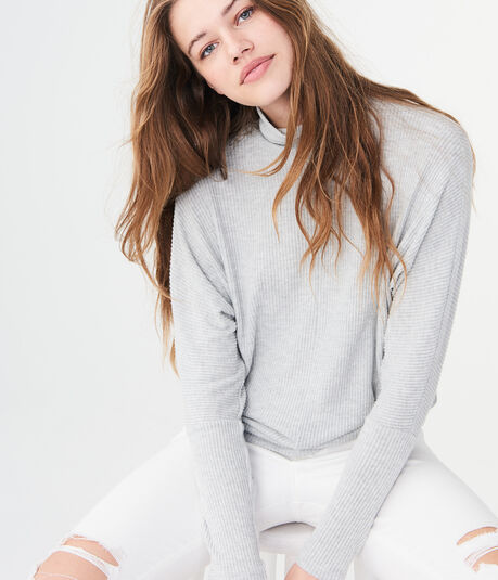 Long Sleeve Solid Dolman Turtleneck Top