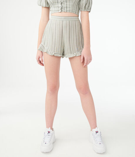 Striped Ruffle-Hem Soft Shorts