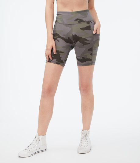 High-Rise Camo Pocket Bike Shorts