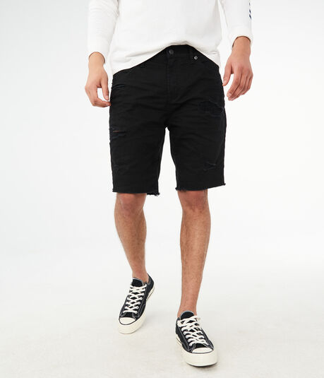 "Black Destroyed Stretch 9.5"" Denim Shorts"