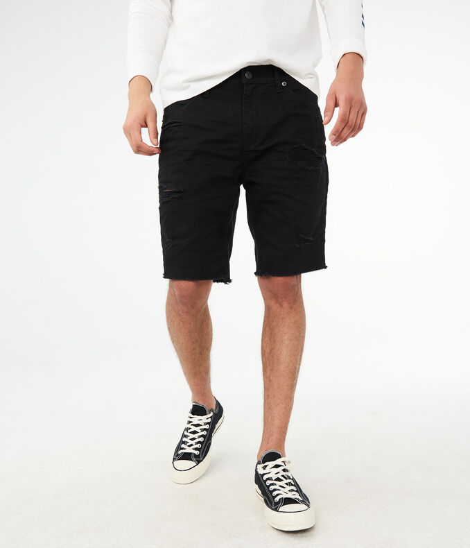 "Black Destroyed Stretch 9.5"" Denim Shorts by Aeropostale"