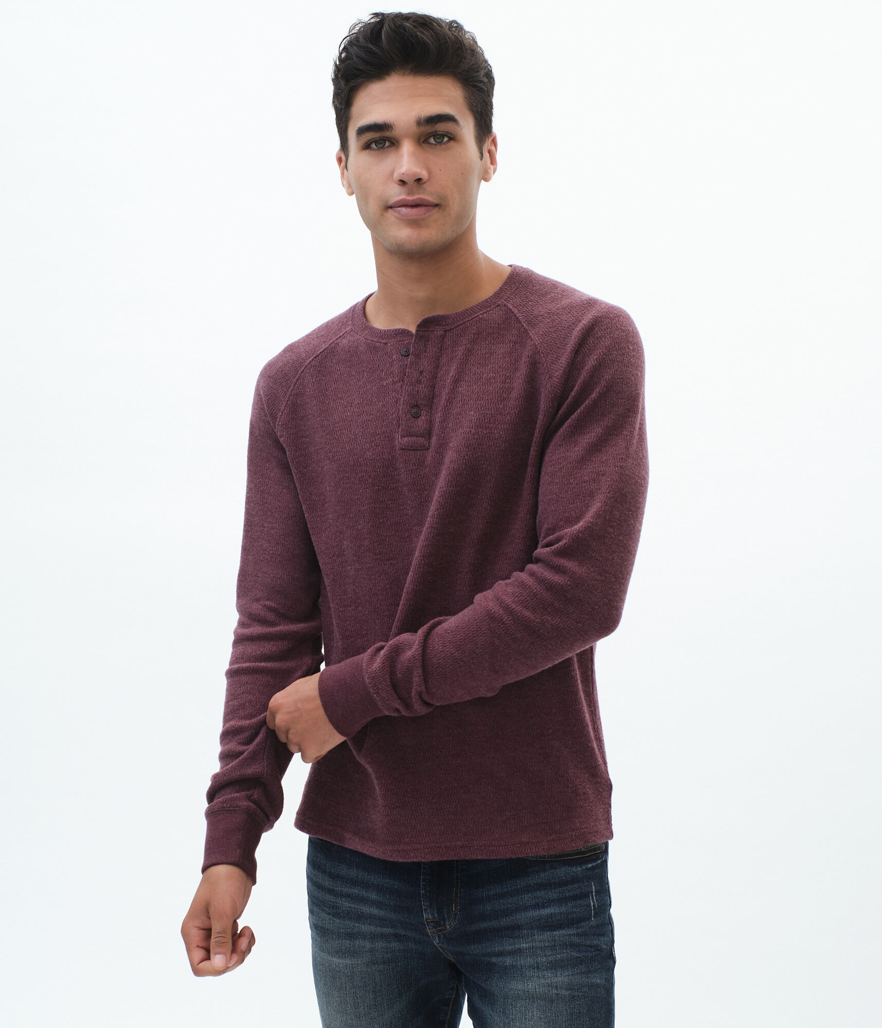 Long Sleeve Solid Henley