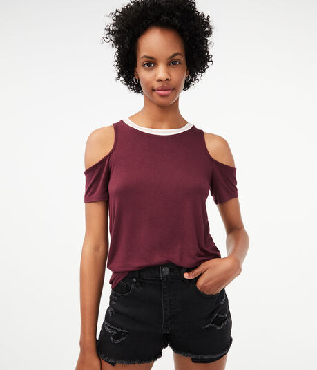 Cold Shoulder Ringer Tee***