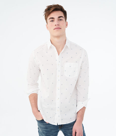 Long Sleeve Geo Print Woven Shirt