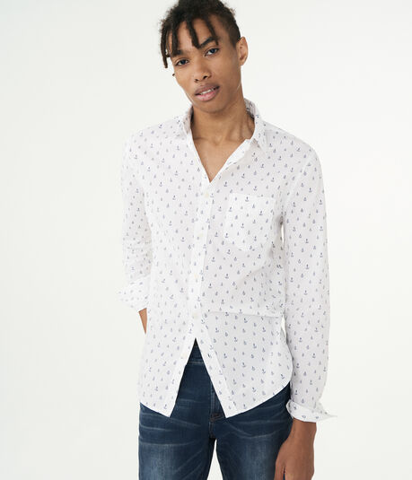 Long Sleeve Anchor Woven Shirt