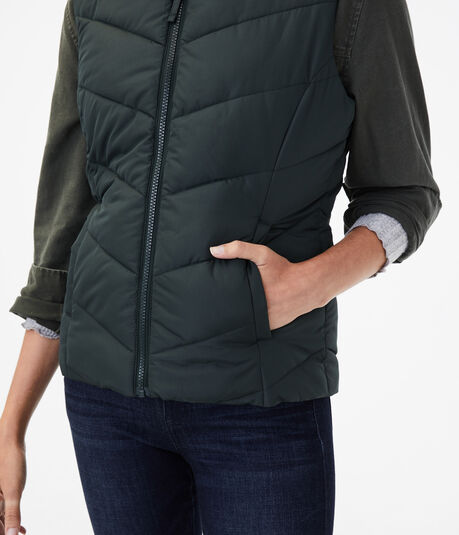 Chevron Quilted Puffer Vest