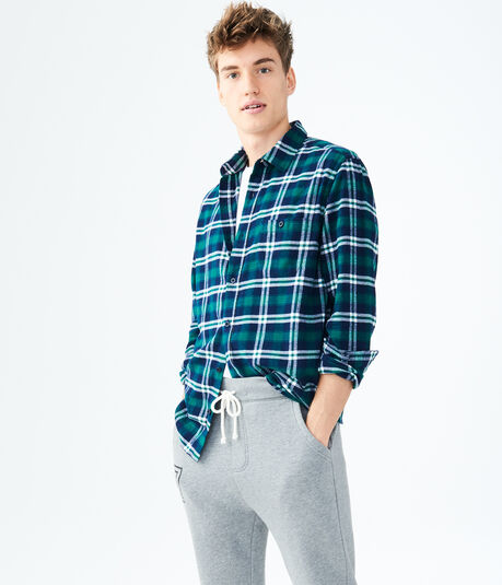 Long Sleeve Plaid Flannel Woven Shirt