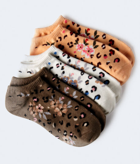 Floral Leopard Ankle Sock 3-Pack***