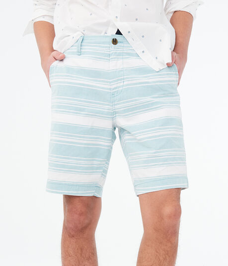"Striped Stretch 9.5"" Flat-Front Shorts"