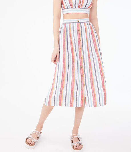 Striped Button-Front Midi Skirt