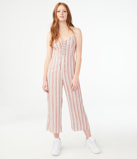 Striped Lace-Up Jumpsuit