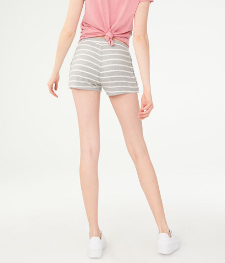 Striped Fuzzy Lace-Up Shorts