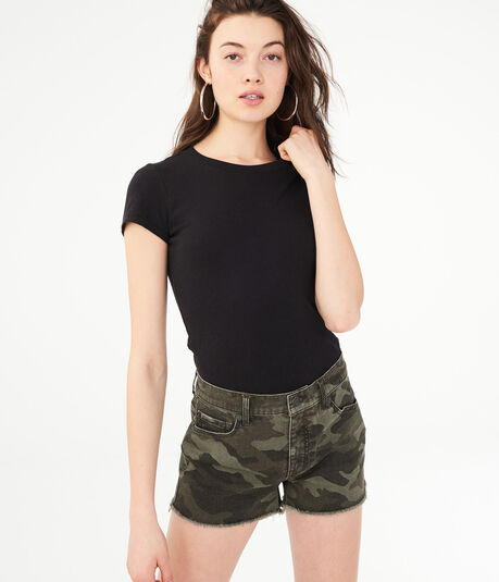 High-Rise Camo Denim Shorty Shorts