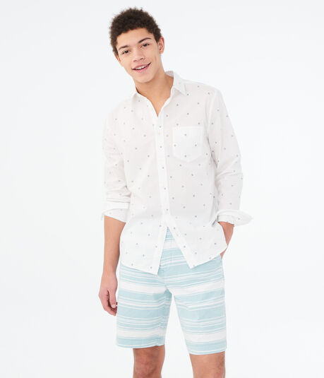 """Striped Stretch 9.5"""" Flat-Front Shorts"""