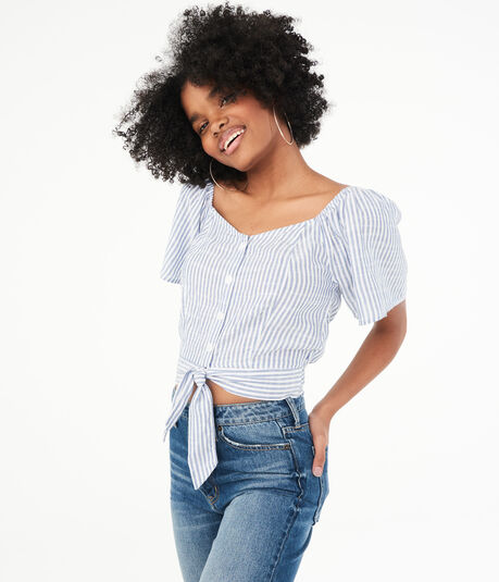 Striped Tie-Front Woven Top