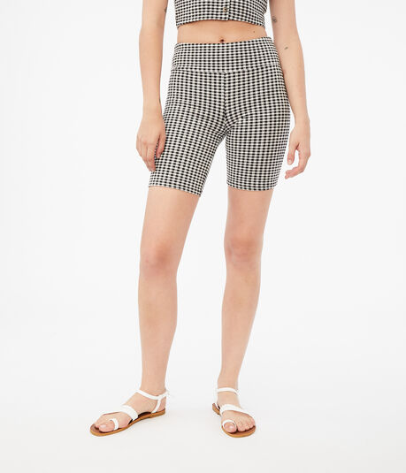 Gingham High-Rise Bike Shorts