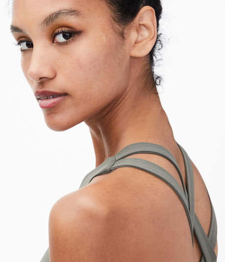 Metallic Stripe Strappy Sports Bra