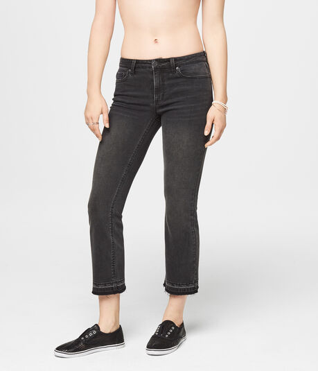 Seriously Stretchy Mid-Rise Crop Skinny Kick Flare Jean