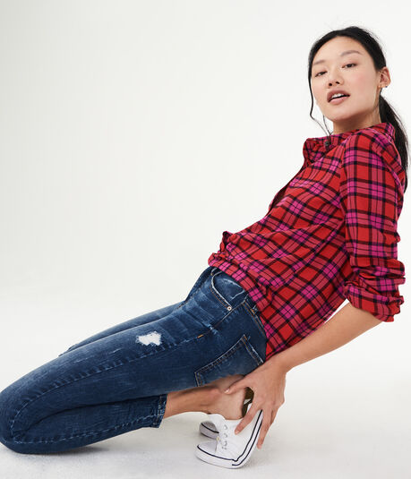Long Sleeve Plaid Knot-Front Woven Shirt