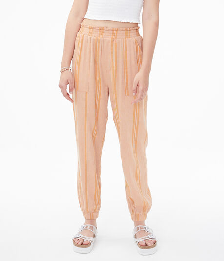 High-Rise Striped Woven Pants