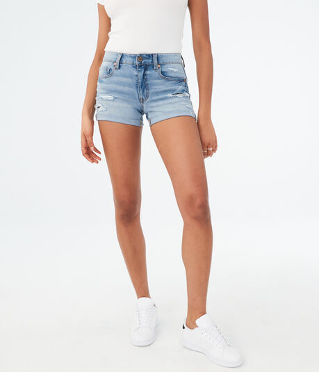 Flex Effects High-Waisted Light Wash Rip & Repair Denim Midi Shorts