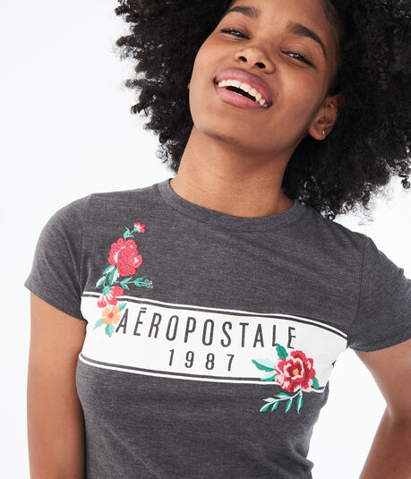 Embroidered Flower Logo Graphic Tee