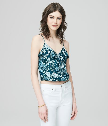 Cape Juby Ruffled Floral Crossover Tank